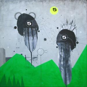 """5"" on canvas 40x40cm"